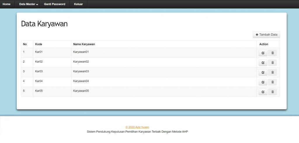 Download Aplikasi SPK Metode AHP berbasis web