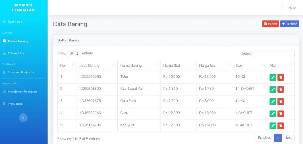 Aplikasi stok barang dan penjualan dengan codeigniter
