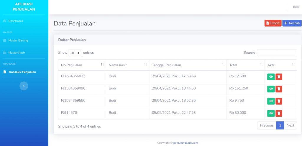 Aplikasi Stok dan Penjualan Barang dengan Codeigniter